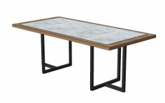 Rectangle marble table with wooden border sketchup