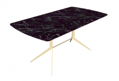 Dark marble table with wooden frame sketchup