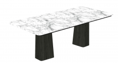 White marble table with 2 wooden pedestal sketchup