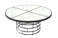 White marble circle table with circle metal frame sketchup