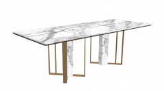 White marble rectangle with marble pedestal and copper frame sketchup