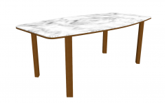 White marble table with 4 wooden leg sketchup