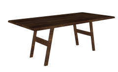 Dark brown wooden table with H-shape leg sketchup