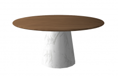 Wooden circle table with marble pedestal sketchup