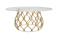 White marble circle table with copper mesh frame sketchup