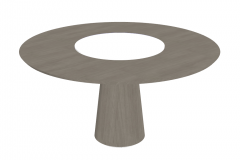 Wooden circle table with white center sketchup
