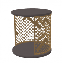 Gray circle table with golden frame sketchup