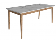 White marble table with wooden frame and leg sketchup