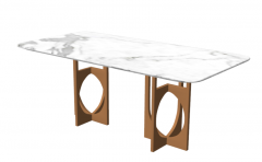 White marble table with copper leg sketchup