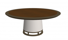 Brown wooden circle coffee table with white pedestal sketchup