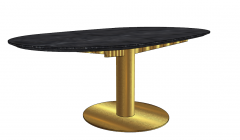 Dark marble oval  table with copper pedestal sketchup