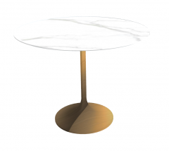 White marble table with copper pedestal sketchup
