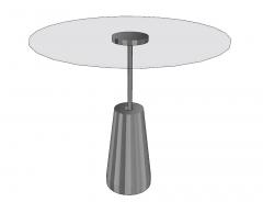 Circle glass table with gray metal pedestal sketchup