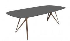 Gray oval table with wooden leg sketchup