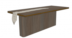 Wooden rectangle table with long pedestal sketchup