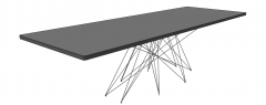 Gray rectangle table with metal combination leg sketchup