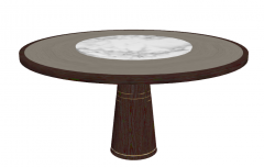 Wooden table with center marble sketchup