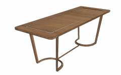 Wooden table with wooden leg sketchup