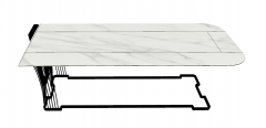 White marble table with cantilever frame sketchup
