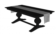 Dark wooden table with 2 pedestal and blanket sketchup