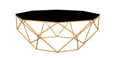 Dark wooden circle  coffee table with golden frame sketchup