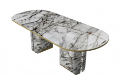 White marble table with 2 marble pedestal sketchup
