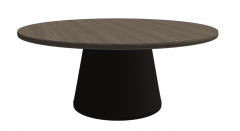 Wooden circle table with dark metal pedestal sketchup