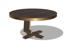 Wooden circle table with cover edge by copper sketchup