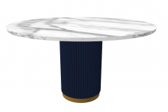 White marble circle table with copper pedestal cover by navy leather sketchup