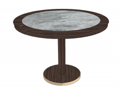 Marble circle table with wooden border sketchup