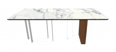 White marble table with black curse edge sketchup