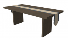 Gray brown rectangle table with blanket sketchup