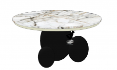 White marble circle coffee table with dark pedestal sketchup
