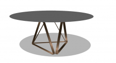Wooden coffee table with polish metal sketchup