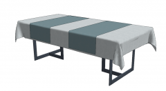 Navy wooden table with blanket sketchup