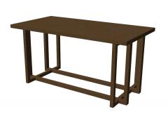 Mesa de madeira marrom com esboço de perna de madeira