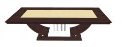 木桌和金金属中心速写