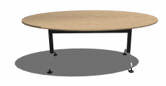 木製の楕円形のテーブルのスケッチアップ