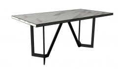 Kitchen table with white marble table top and dark frame sketchup