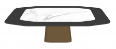 Kitchen table with white marble on center table top and copper pedestal sketchup