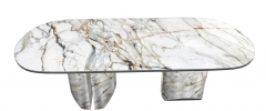 White polish marble table with 2 big pedestal sketchup