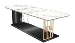 Kitchen table with white marble table top and dark rectangle base sketchup