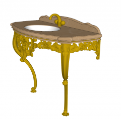 Vanity sink table with brown marble table top and golden leg and faucet sketchup