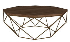 Hexagon coffee table with wooden table top sketchup