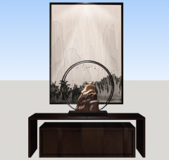 Showing table with picture and decoration sketchup