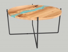 Coffee table with acrylic center sketchup