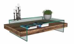 Coffee rectangle table with candle and flower vase sketchup