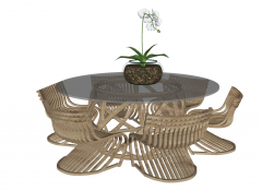 Coffee table with circle glass table top and 6 armchairs sketchup