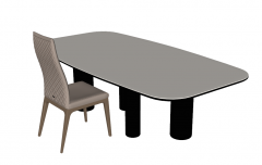 Kitchen table with white table top and dark leg sketchup