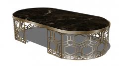 Oval marble coffee table with copper frame sketchup
